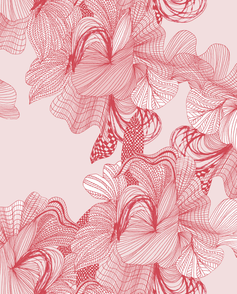 Floral hand drawing stylised