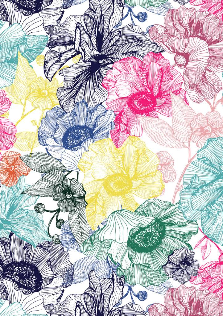 hand drawn flower prints